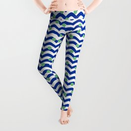 blue dotted waves Leggings