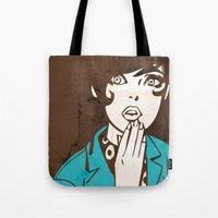 60s Tote Bags featuring 60s Girl by Ed Pires