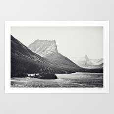 Glacier Mountain Lake Black and White Art Print