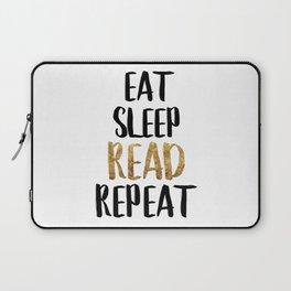 Eat Sleep Read Repeat Gold Laptop Sleeve