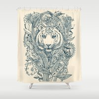 leaf Shower Curtains featuring Tiger Tangle by micklyn