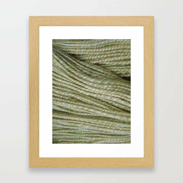 Yellow, light green handspun yarn Framed Art Print