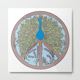 Peacock Peace Mandala Metal Print