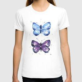 Butterflies Watercolor Blue and Purple Butterfly T-shirt