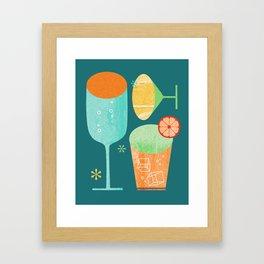 Pour & Drink (Blue) Kitchen or Bar Art Framed Art Print