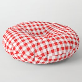 Valentine Red Heart Rich Red and White Buffalo Check Plaid Floor Pillow