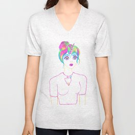 Psychedelic Rainbow Unicorn Girl Unisex V-Neck