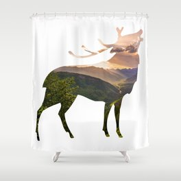 Elk Silhouette with Wilderness Inlay Shower Curtain