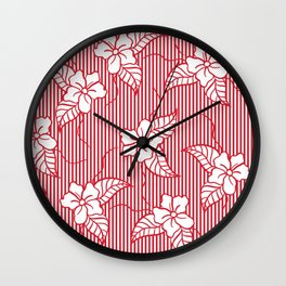 Fashion red flame scarlet white floral hand drawn geometric stripes pattern Wall Clock