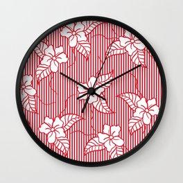 Fashion red flame scarlet white floral hand drawn geometric stripes pattern Wall Clock