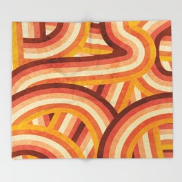 Vintage Orange 70's Style Rainbow Stripes Throw Blanket
