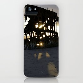 Wreck of the Peter Iredale at sunset iPhone Case
