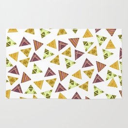 Brown yellow autumn colors hand painted tribal triangles Rug