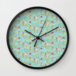 More Fishes in Jumpers Carrying Umbrellas  Wall Clock