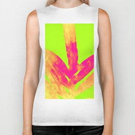Green and Ultra Bright Coral Fern Biker Tank