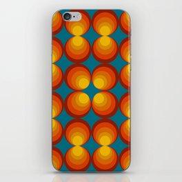 70s Circle Design - Teal Background iPhone Skin