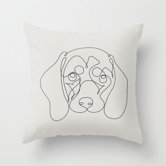 One Line Dachshund Throw Pillow