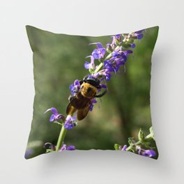 Bumble Bee on purple Throw Pillow