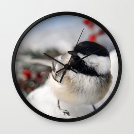 Christmas Chickadee Wall Clock
