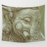 ganesh Wall Tapestries featuring Ganesh green by Isilune Art
