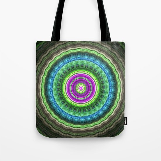 Groovy wavy mandala with tribal patterns Tote Bag