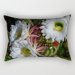 White Argentine_Giant_Cacti in Bloom Rectangular Pillow