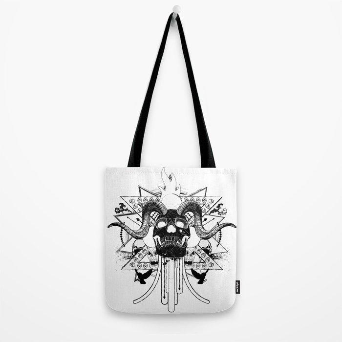 Rock Horned Skull Graphic  Tote Bag