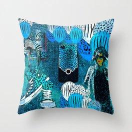 Animal Print Blue Celebrate Life Throw Pillow