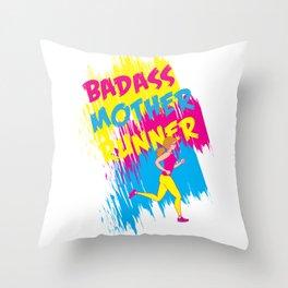 Badass Mother Runner Throw Pillow