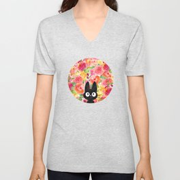 Jiji in Bloom Unisex V-Neck