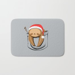 Sloth in a Pocket Xmas Bath Mat