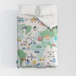 Travel The World Trains Planes Cars Trucks Map Comforters