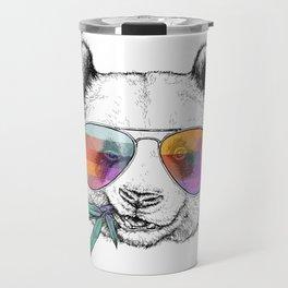 Panda Graphic Art Print. Panda in glasses Travel Mug