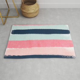 Striped painted coral mint navy pink pattern stripes minimalist Rug