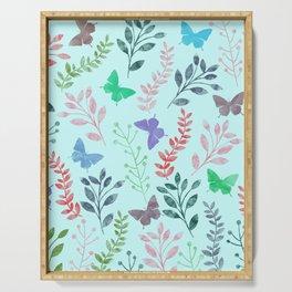 Watercolor flowers & butterflies II Serving Tray