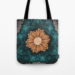 Beautiful Paradise Chrysanthemum of Orange & Aqua Tote Bag