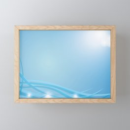 Blue background with beautiful smooth lines and lights. Lights and iridescent lines on a blue backgr Framed Mini Art Print