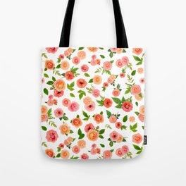 Ranunculus & Rose in Watermelon  Tote Bag