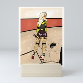 Roller derby canary Mini Art Print