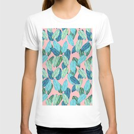Tropical leaves on Pink T-shirt