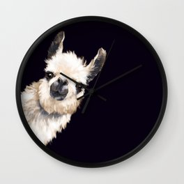 Sneaky Llama in Black Wall Clock