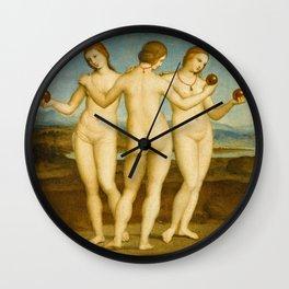 Three Graces by Raphael Wall Clock