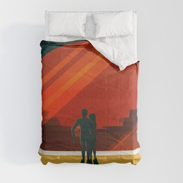 SpaceX Travel Poster: Phobos and Deimos, Moons of Mars Comforters
