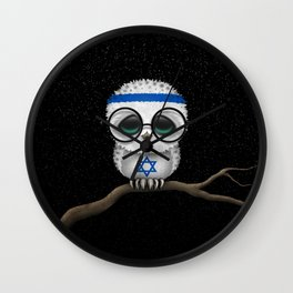 Baby Owl with Glasses and Israeli Flag Wall Clock