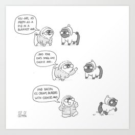 Mochi the pug getting distracted while flirting Art Print