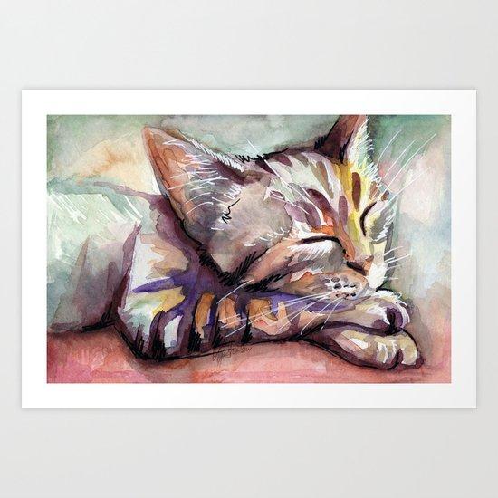 Sleeping Kitten Watercolor Cat Whimsical Cats Art Print