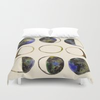 moon phases Duvet Covers featuring Phases of the Moon by Lindsay Milgrim