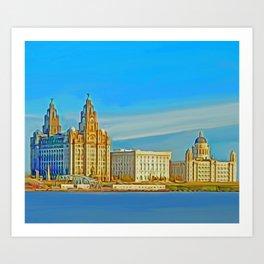 Liverpool 3 Graces (Digital Art) Art Print