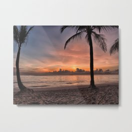 Tropical Hawaii beach at sunset Metal Print