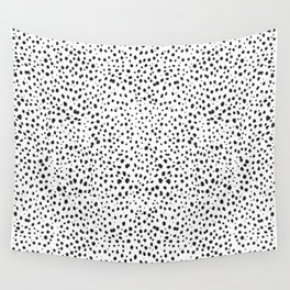 Dalmatian Spots - Black and White Polka Dots Wall Tapestry